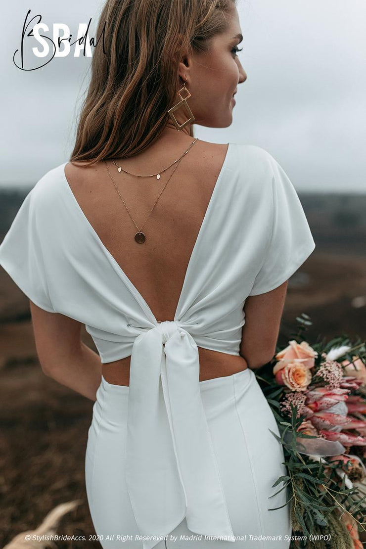 Charlie | Silk Bridal Top with Bow on the back - StylishBrideAccs