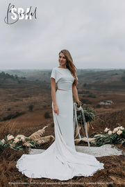 Charlie Top & Lia Skirt | Silk Crepe Boho Dress - StylishBrideAccs