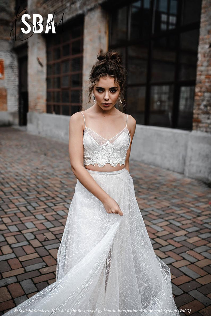 Charlotte | Glitter Thin Strapped Boho Dress - StylishBrideAccs