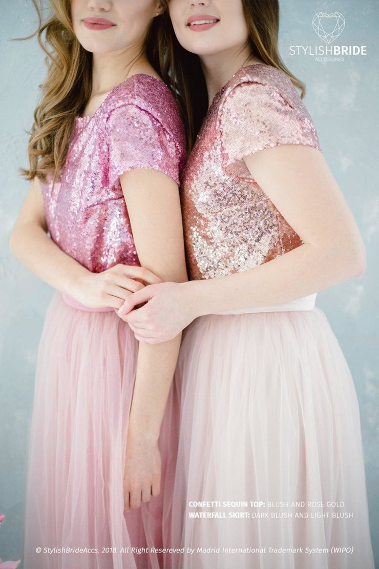 Confetti | Blush Engagement Sequined Top - StylishBrideAccs