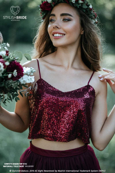 Confetti | Bridesmaids Wine Sequined Top - StylishBrideAccs