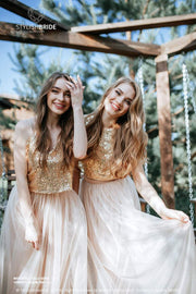 Confetti | Gold Prom Top & Nude Waterfall Skirt - StylishBrideAccs