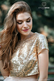 Confetti | Gold Sequined Bridesmaids Top - StylishBrideAccs