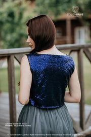 Confetti | Indigo Party Sequined Top - StylishBrideAccs