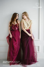 Confetti | Prom Gold/ Wine Top & Waterfall Skirt - StylishBrideAccs