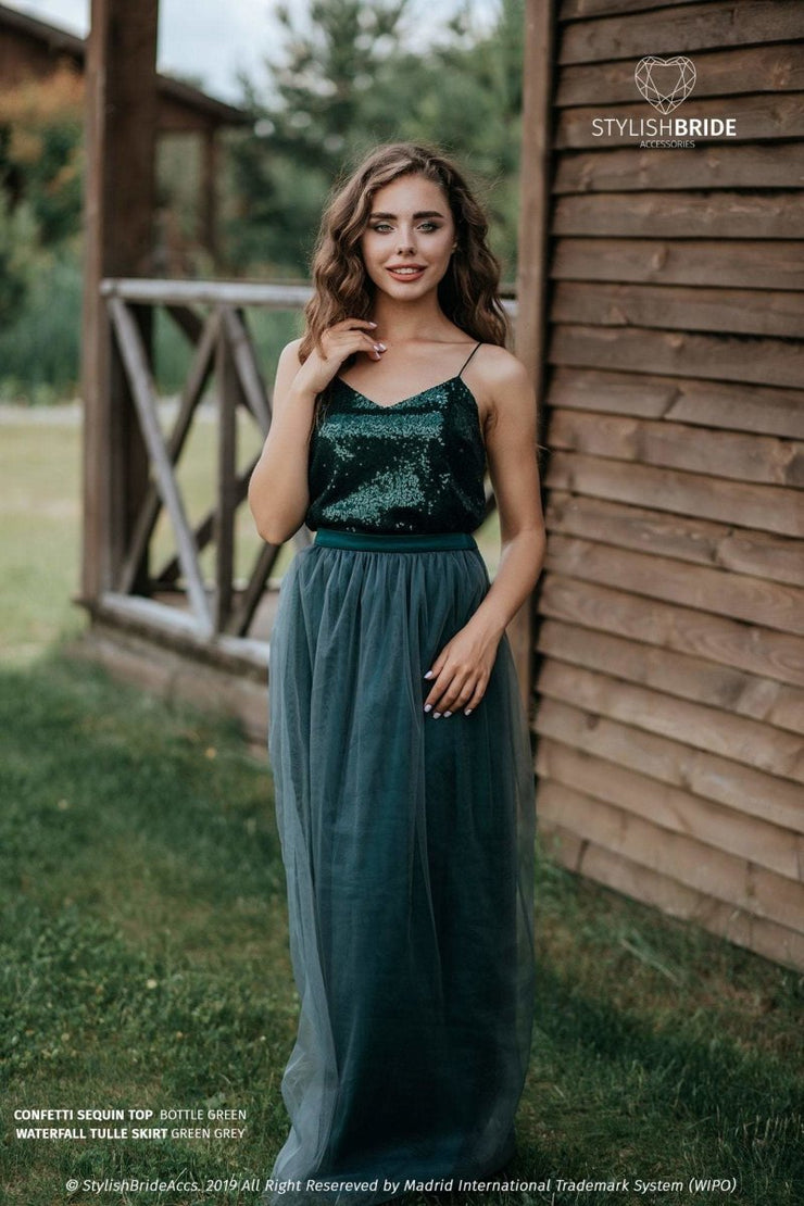 Confetti | Prom Green Top & Waterfall Skirt - StylishBrideAccs