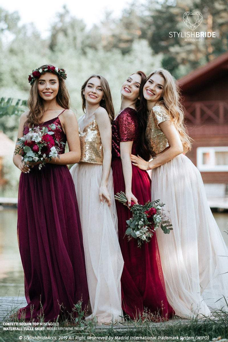 Confetti | Prom Wine or Gold Top & Waterfall Skirt - StylishBrideAccs