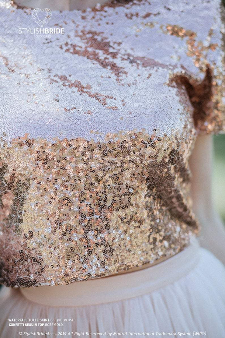 Confetti | Rose Gold Party Sequined Top - StylishBrideAccs