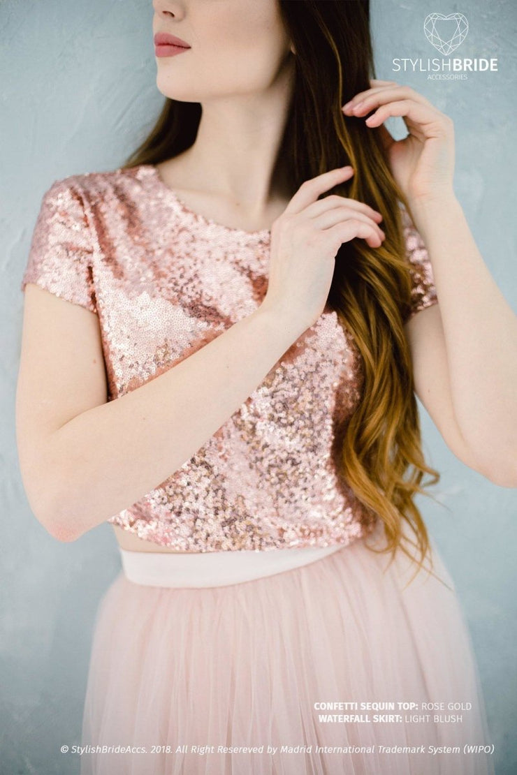 Confetti | Rose Gold Sequin Prom Top - StylishBrideAccs
