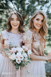 Confetti | Rose Gold Top & Prom Waterfall Skirt - StylishBrideAccs