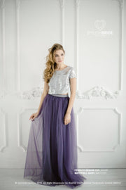 Confetti | Silver Party Top & Amethyst Skirt - StylishBrideAccs