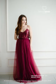 Confetti | Wine Prom Top & Waterfall Skirt - StylishBrideAccs