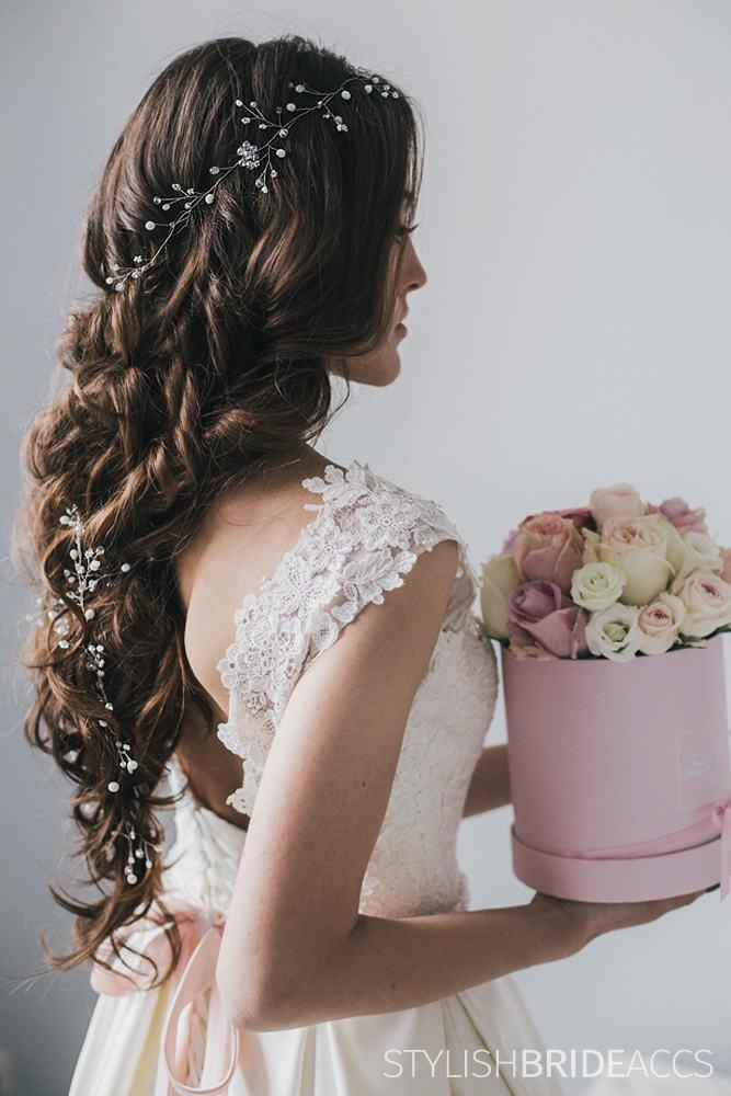 Cora | Wedding hair piece with crystals and white beads - StylishBrideAccs
