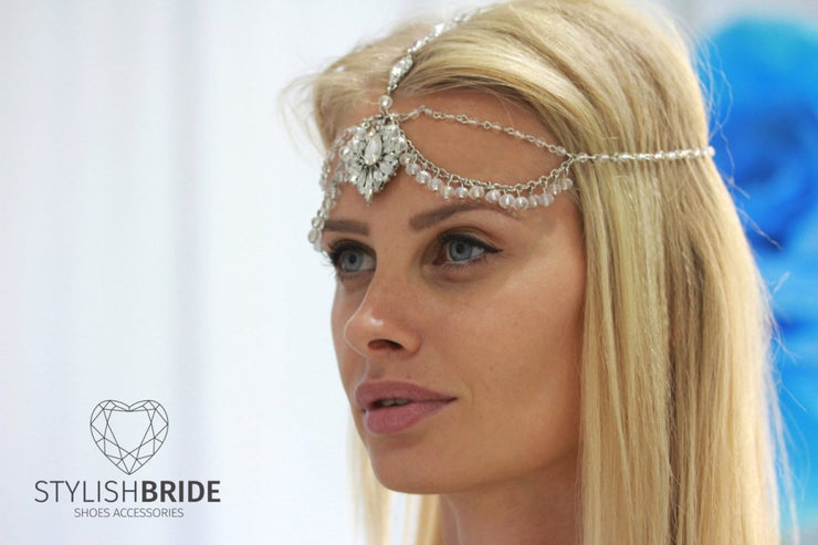 Crystal Hair Chain Headpiece, Bridal Head Chain Tikka, Weddings Bridal Headpiece, Jewelry Head Chain, Head Jewelry Chain, Head Pie - StylishBrideAccs