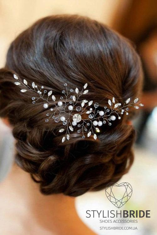 Crystal Long Wedding Hair Vine, Hair Vine, Crystal Hair Accessories, Crystal Vine, Bridal Hairpiece - StylishBrideAccs