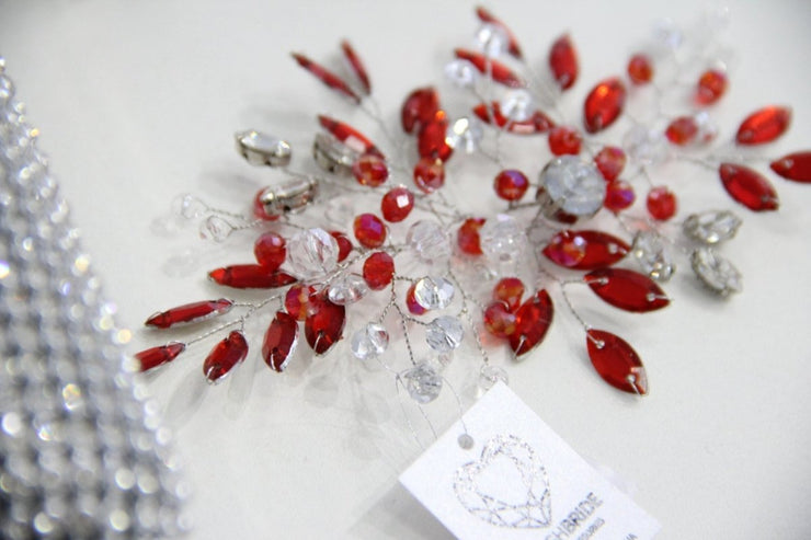 Crystal Red Wedding Hair Vine, Red Hair Vine, Crystal Hair Accessories, Crystal Vine, Bridal Hairpiece - StylishBrideAccs