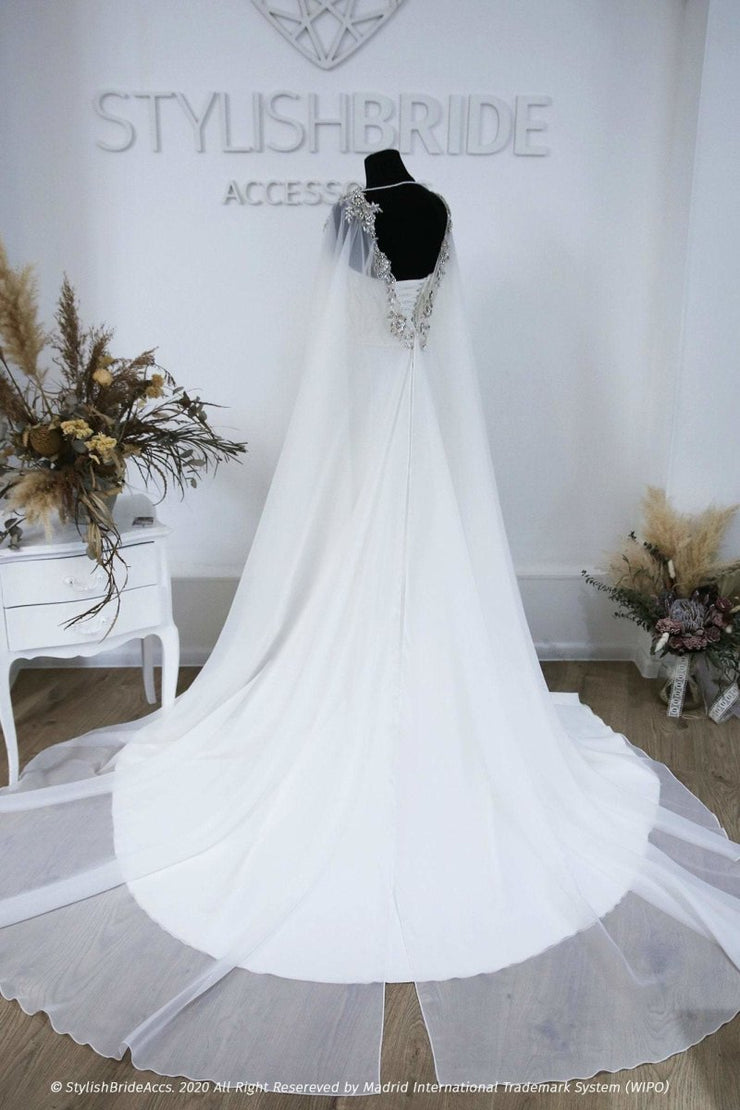 Crystals Embroideries Chiffon Bridal Cape - StylishBrideAccs