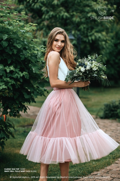 Daisy | Frill Tulle Engagement Skirt & Silk Satin Top - StylishBrideAccs