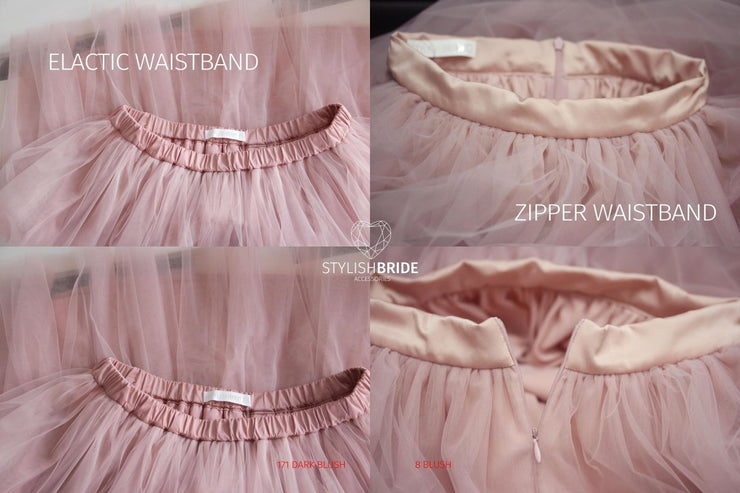 Dark Blush / Blush Tulle Skirt Casual Women's - Wedding / Bridal Blush Princess Skirt - StylishBrideAccs