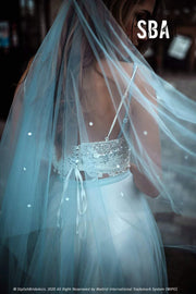 Dotted Dusty Blue Disney Wedding Veil - StylishBrideAccs