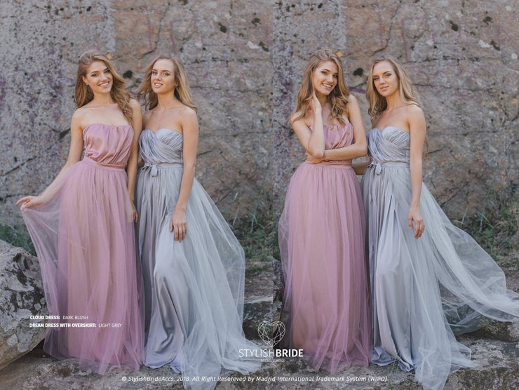 Dream and Cloud Prom Silk Tulle Dresses - StylishBrideAccs
