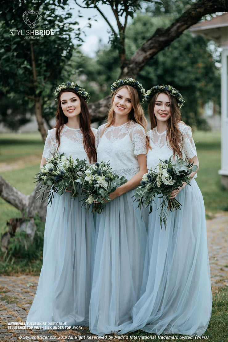 Dusty Blue Ombre Bridesmaids Tulle Skirt & Belle Top - StylishBrideAccs