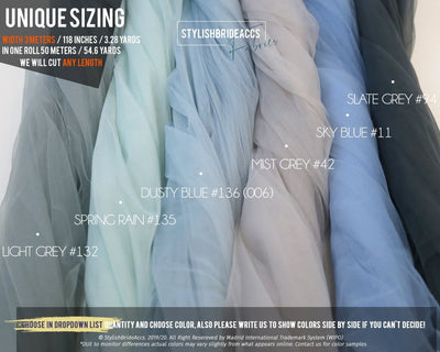 Dusty Blue Palette - Tulle Fabric, Wholesale - StylishBrideAccs