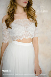 Elastic Crop Top Low Shoulder - White / Ivory Short Lace Blouse - StylishBrideAccs