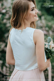 Ella | Ivory Silk Waves Bridesmaids Top - StylishBrideAccs