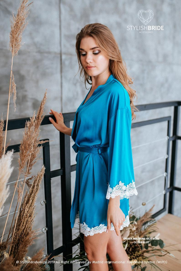 Ember | Grey Blue Bridesmaid Robes Macrame Lace Trim - StylishBrideAccs