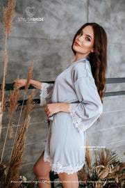 Ember | Light Grey Silk Bridesmaids Robes - StylishBrideAccs