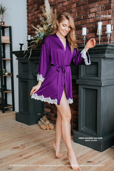 Ember | Lux Grape Splash Silk Bridesmaid Robe - StylishBrideAccs