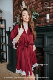 Ember | Wine Bridesmaids Silk Robe - StylishBrideAccs