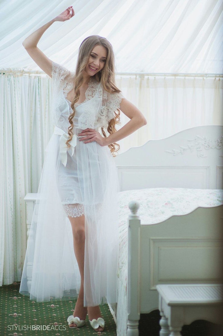 Embroidered Boudoir Bridal Lace Tulle Dress - StylishBrideAccs