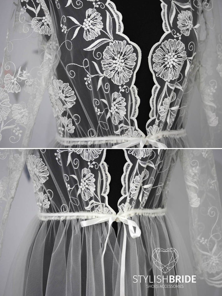 Embroidered Boudoir Flower Lace Bridal Robe - StylishBrideAccs
