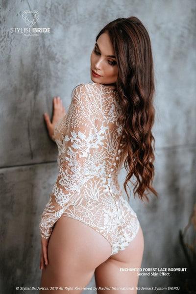 Enchanted Forest Boho Bridal Bodysuit with Buttoned Back - StylishBrideAccs