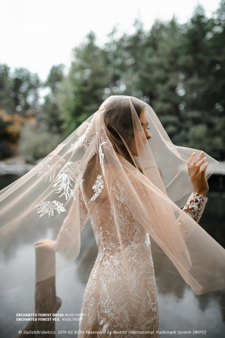 Enchanted Forest | Boho Rustic Nude Veil with Blusher - StylishBrideAccs