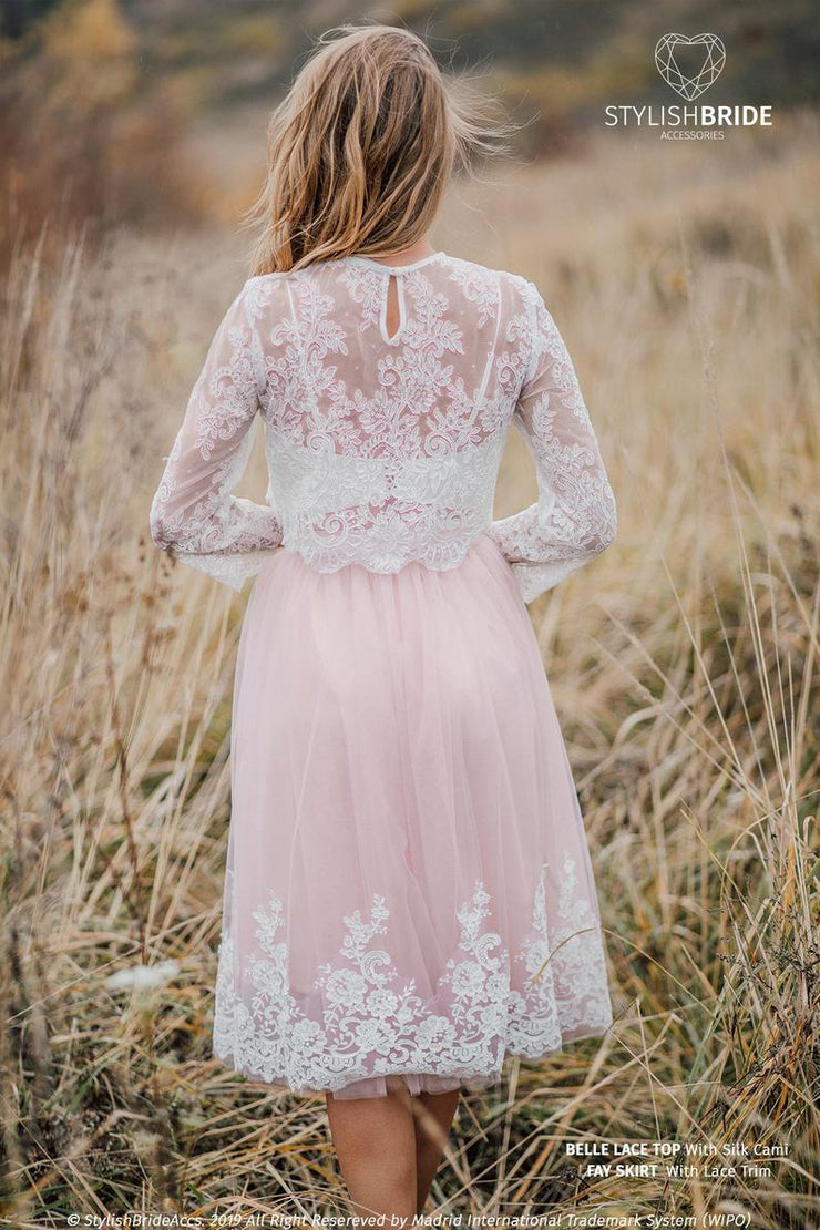 Engagement Belle Lace Dress - Tulle Skirt with Lace Trim and Belle Crop Top - Bridal Separates Plus Size available - StylishBrideAccs