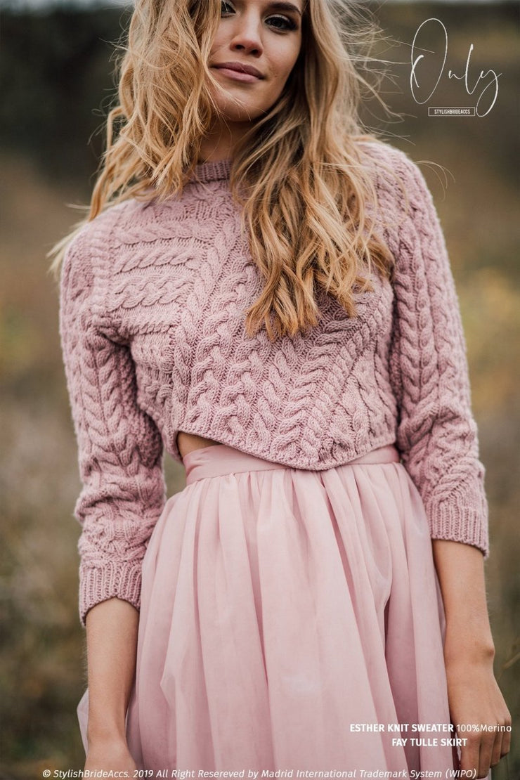 Esther Winter Wedding Separates Sweater with Fay Short Tulle Skirt - StylishBrideAccs