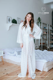 Ethno Bohemian Luxury Bridesmaid Lace Robe - StylishBrideAccs