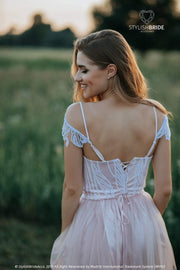 Evelyn | Silk Bridal Hanging Sleeve Bustier - StylishBrideAccs