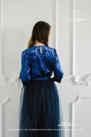 Evening Navy Blue Crop Velvet Top - StylishBrideAccs