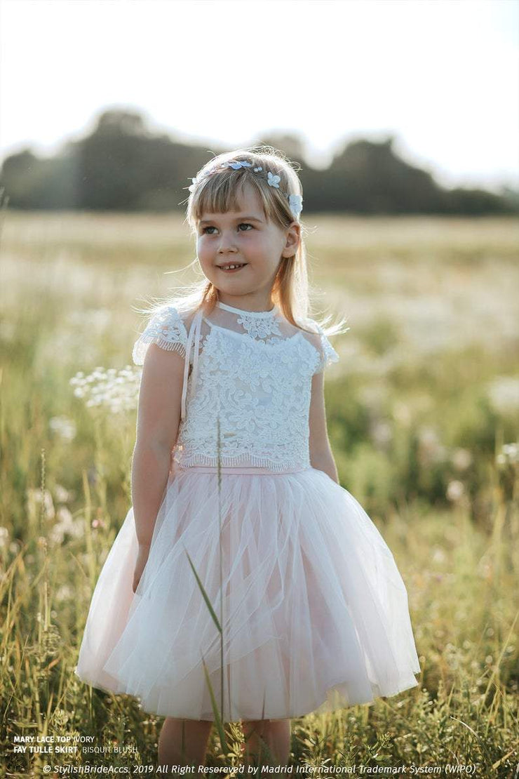Fay | Flower Girl Tulle Skirt & Boho Lace Top - StylishBrideAccs