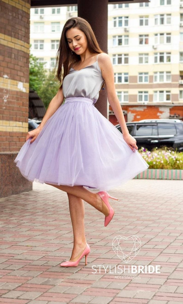Fay | Lavender Skirt & Grey Prom Top - StylishBrideAccs