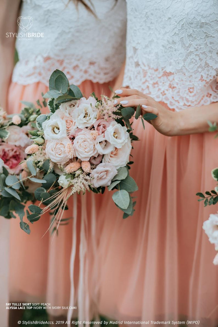 Fay | Peach Tulle Bridesmaids Skirts with Alyssa Top - StylishBrideAccs