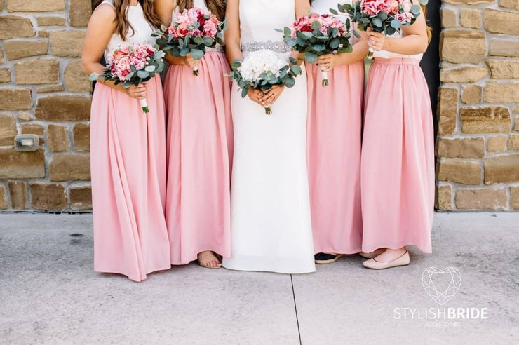 Flame | Chiffon Bridesmaids Skirt & Silk Top - StylishBrideAccs