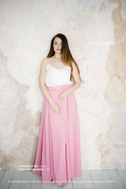 Flame | Pink Chiffon Party Skirt & Ivory Silk Top - StylishBrideAccs
