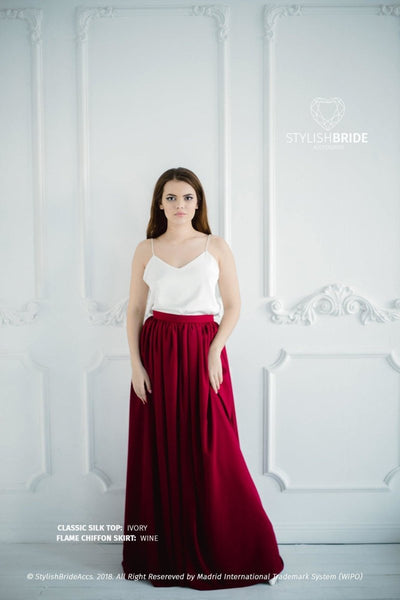 Flame | Wine Bridesmaid Chiffon Skirt & Silk Top - StylishBrideAccs