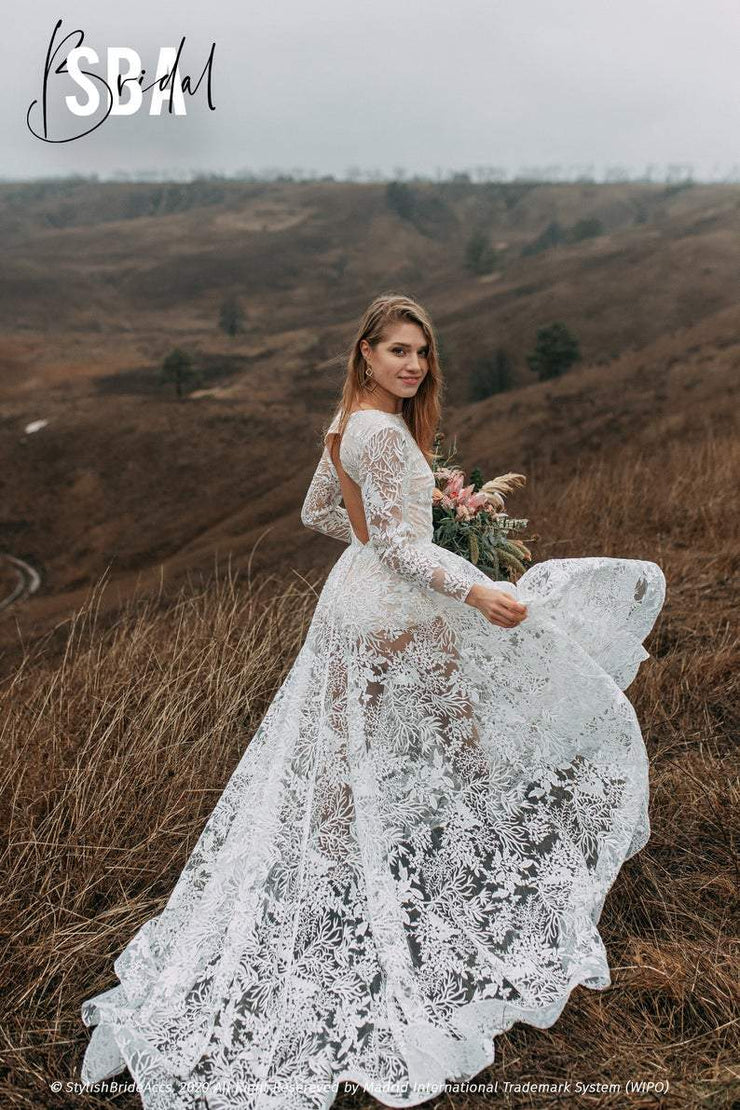 Forest Luna | Lace Bridal Dress - StylishBrideAccs