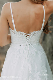 Freya | Bridal Lace Top with Silk Bustier - StylishBrideAccs